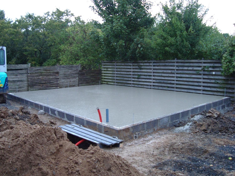 Støbe betongulv i garage